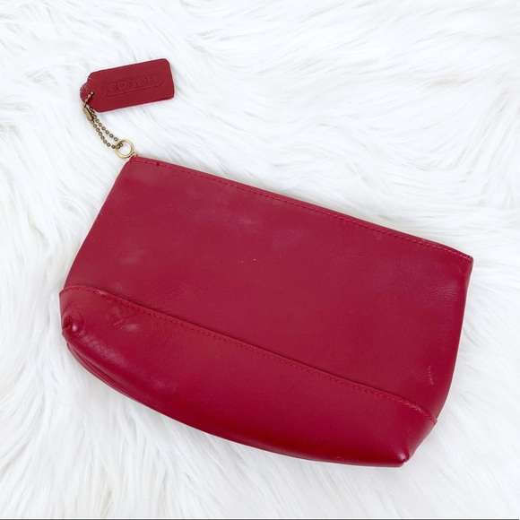 Vintage Coach Red Leather Pouch